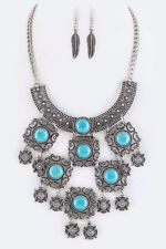 Statement Cowgirl Western Silver Collar Bib Necklace Turquoise Feather Earring