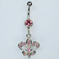 Pink New Orleans Lily Navel Jewelry (B27) Fleur De Lis Dangle Belly Button Ring