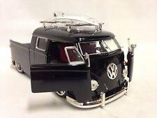1963 Volkswagen Micro Bus Pickup w/Surfboard,1:24 Diecast, Jada Toys, DSP, Black