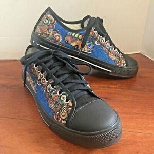 HIPPIE VAN MANDALA MOON Men's LOW TOP Shoes Size 9 Paisley Canvas Colorful EUC