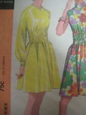 Vintage 70's McCall's 2386 A-LINE DRESS w/ ELASTIC MIDRIFF Sewing Pattern Women