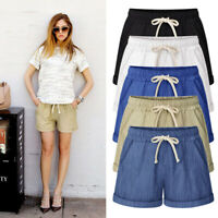 Women Casual Shorts Elastic Waist Short Mini Trousers Pants Summer Plus Size US