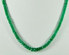 "EBay 100 ct 3*5 mm Natural Emerald Faceted RONDELLE BEADS 22"" Argent 925 Fermoir."