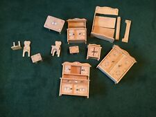 VTG 11 PIECE SET OF GERMAN WOOD HAND PAINTED DOLL HOUSE FURNITURE ARMOIRE HUTCH