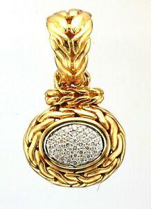 Ladies 18k Gold John Hardy Diamond Claw / Pave Set Braided Design Oval Pendant
