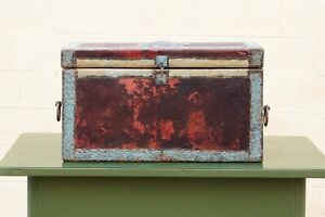 Gothic Leather and Pressed Metal Trunk with Eagle
