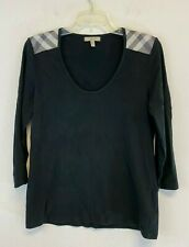 Burberry London Womens Black 3/4 Sleeve Top Size Large
