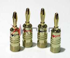 4 x KING AV GOLD SERIES 24K 4MM BANANA PLUGS - Premium Easy Fix Speaker, AV HiFi