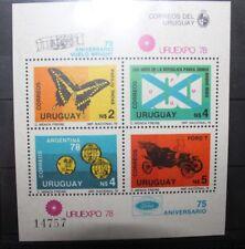 "FRANCOBOLLI URUGUAY 1978 ""URUEXPO78 FARFALLE STEMMI"" MNH** BLOCK (CAT.2)"