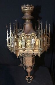Gothic Revival 6 Sided gilt, silver and Bronze Fixture From the Belcourt Castle