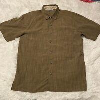 REI Mens Size Medium Solid Brown Short Sleeve Button Down Shirt EUC