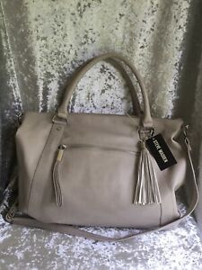 AUTHENTIC STEVE MADDEN BISQUE B MARLOW SATCHEL LIGHT GREY NEW WITH TAGS