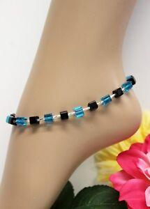 Glass Jewels Silber Fußkettchen Perlen Sommer Würfel Blau Länge 29 cm #J045