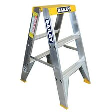 Bailey DOUBLE SIDED BIG TOP ALUMINIUM STEP LADDER 0.9m 150kg Industrial Duty