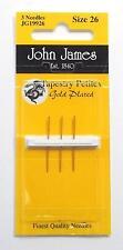 "John James GOLD PLATED Tapestry ""Petites"" English Needles Needlepoint ~ Sz. 26"