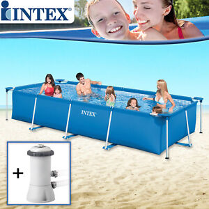 Intex Swimming Pool Set 450x220x84 mit Pumpe Schwimmbecken Frame Schwimmbad