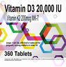 Vitamin D3 20,000 IU + Vitamin K2 200mcg Natural MK-7 x 360 tablets