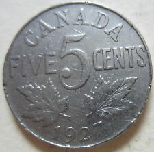 1927 Canada  Five Cents Coin. NICE GRADE (F175)