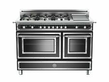 Bertazzoni 48'' All Gas Range, 6 Brass Burner and Griddle Matt Black Her486Ggasn