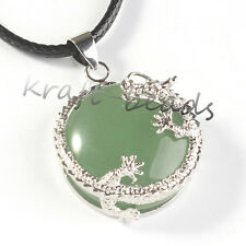 Silver Plated Natural Green Aventurine Stone Jewelry Dragon Half Ball Pendant
