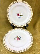 """Set of 2 Royal Worcester KENT DINNER PLATE 10 5/8"""" Bone China Fluted Rose Center"""