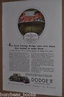 1933 Dodge advertisement, DODGE 8 convertible coupe, color art
