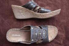 COLORADO RIFI Brown Leather SANDALS Size 8.5 NEW rrp $99.99 STUD Trim Wedge Heel
