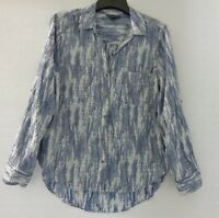 Rock & Republic Womens Large Tunic Blouse Collared Shirt Blue Cuffed Long Sleeve