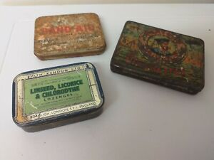 VINTAGE...OLD TINS...PLAYERS...SMITH KENDON..BAND AID...HINGED LID..COLLECTABLE