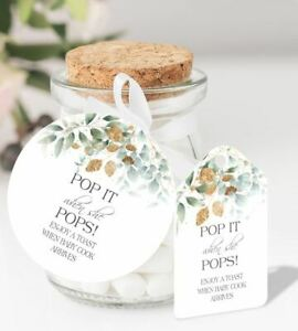10 x Personalised Baby Shower Pop When She Pops Round Favour Tags FB