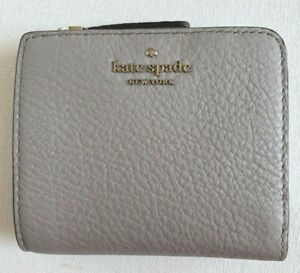 NWT Kate Spade New York Jackson small L-zip Bifold wallet Leather Soft Taupe