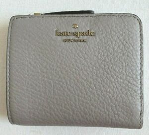 New Kate Spade New York Jackson small L-zip Bifold wallet Leather Soft Taupe