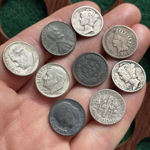 America USA. Silver And Other Coins Including Dimes And Cents. (9 Coins)