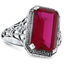 9 CARAT LAB RUBY ANTIQUE DECO STYLE 925 STERLING SILVER FILIGREE RING Sz 10, #90