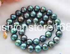 New 8-9mm PEACOCK BLACK ROUND Freshwater cultured PEARL NECKLACE 18""
