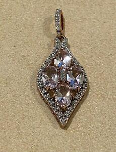 Magnificent 1.60ct Morganite & Diamond Flower Shaped Pendant in 9K Rose Gold.