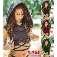 Boho Tops Solid Color Sleeveless Hooded Crop Shirt  Slim Fit Tank Tops