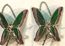 STAINED GLASS 2- Piece Hanging Purple Green  Fairies  [9041-F]