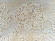 Vintage White  LINEN PILLOW COVER, Lace Center