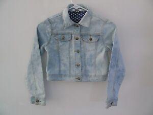 DKNY Truckers Jeans Jacket Girls Stretch Denim Tie Dye Size Medium