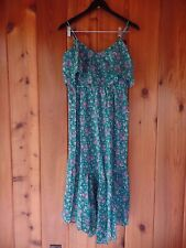 New Blu Moon Strap Dress Flower Green Size 2 (fits like S) Cotton