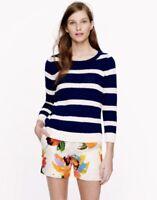 J Crew Sweater Blue Ivory Striped Size XS