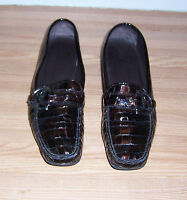 STUART WEITZMAN DARK BROWN CROC EMBOSSED PATENT LEATHER BUCKLE LOAFER SHOES 8.5