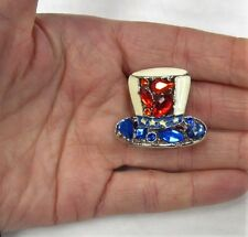 Uncle Sam Hat Pin Brooch Election American Flag Red White Blue Patriotic