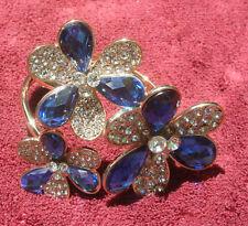 Gold Blue Flower Stone Cuff Bracelet