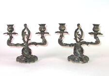 paar Jugendstil Girandolen / Kerzenleuchter - Zinn versilbert um 1900