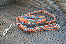 Paracord Dog Leash and King Cobra Collar with Large Metal Buckle
