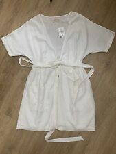 Urban Outfitters White Linen Wrap Dress Pockets Button Down Size S BNWT RRP £39