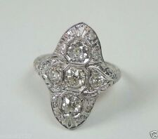 Antique Vintage Diamond Engagement Ring Platinum Ring Size 7.75 UK-P EGL USA