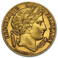 1849-1851 France Gold 20 Francs Early Head Ceres Avg Circ - SKU #75926